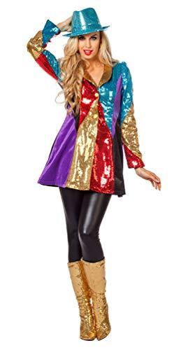 Karneval-Klamotten Fasching Jacke Frack Pailletten bunt Uniform-Jacke Garde Damen-Kostüm Größe 48 (Pailletten Jacke Kostüm)