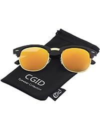 CGID MJ56 Lunettes de soleil demi-cerclées écailles demi monture inspirées Clubmaster Premium avec rivets métalliques