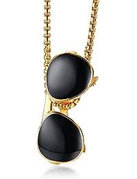 d6ad5c9668 Lozse Collana da uomo mans regalo di compleanno di gel di occhiali da sole  pendente uomo gioielli di ciondolo in acciaio…