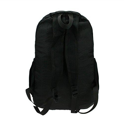 FakeFace Unisex Rucksack Faltrucksack Reisetasche Wanderrucksack Picknickrucksack Wasserdicht Tasche Daypack Tragetasche Schwarz