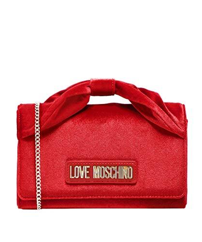 Love Moschino Moschino Damen Samt-Bogen-Kettentasche Rot Ein Größe