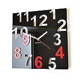 Acquista Orologio da parete moderno FANTASY 32cm nero & rosso numeri salotto decorativo silenzioso 3 d