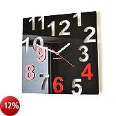 Orologio da parete moderno FANTASY 32cm nero & rosso numeri salotto decorativo silenzioso 3 d