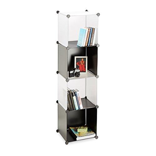 Relaxdays Étagère cubes rangement bibliothèque 4 compartiments plastique casiers modulable, noir transparent