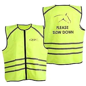 QHP Reflektierende Weste Sicherheitsweste Reflektionsweste mit refl. Streifen auf Rumpf und Schultern; Reißverschluss und Aufdruck auf Dem Rücken