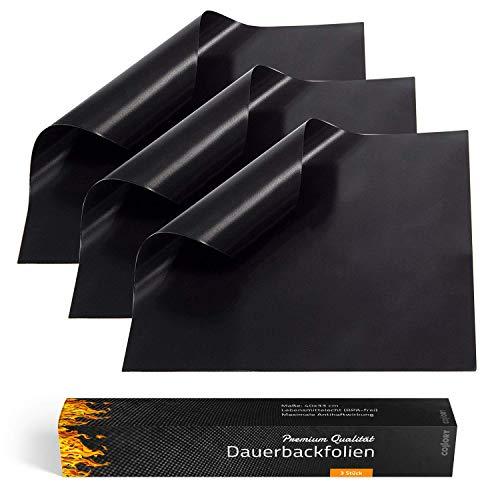 Collory Premium Grillmatte (3er Set) | 40x33cm 0.3mm | Teflon antihaftbeschichtete Backunterlage | Wiederverwendbares Backpapier | Backmatte Grillmatte | Dauerbackmatte | Lebensmittelecht BPA-Frei