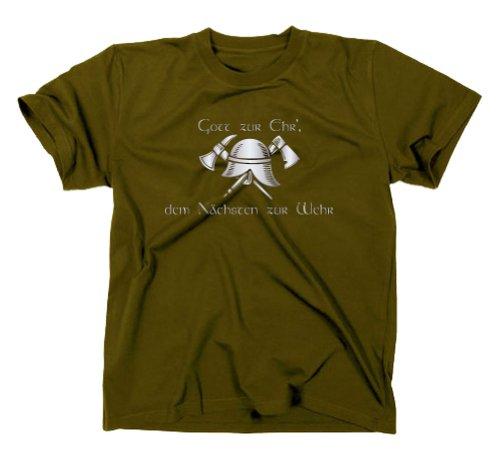 Feuewehr T-Shirt, Gott zur Ehr dem nächsten zur Wehr, oliv, S