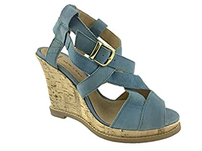 new look leather strappy wide fit wedge sandals