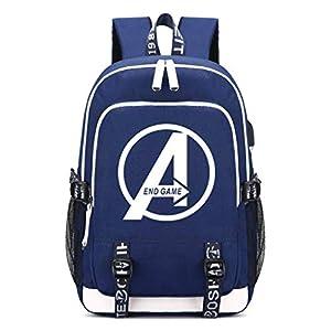 41dfab0GzqL. SS300  - Memoryee Mochila Escolar Avengers Mochila de Ordenador portátil Impresa Mochila multifunción con Puerto de Carga USB y Puerto para Auriculares 2 Líneas Azul1
