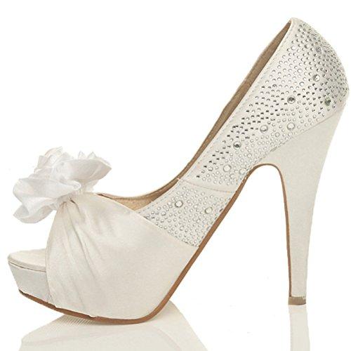 Damen Hohe Absatz Hochzeit Braut Strass Blume Peep Toe Plateauschuhe Pumps Sandalen Größe Gebrochenes Weiß / Weiß Blume