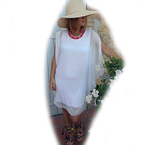 Coklico - Tunique Ample Poncho Lagenlook - Maiween - Multitailles : 38 40 42 44 46 48 50 52 Coloris\\Blanc