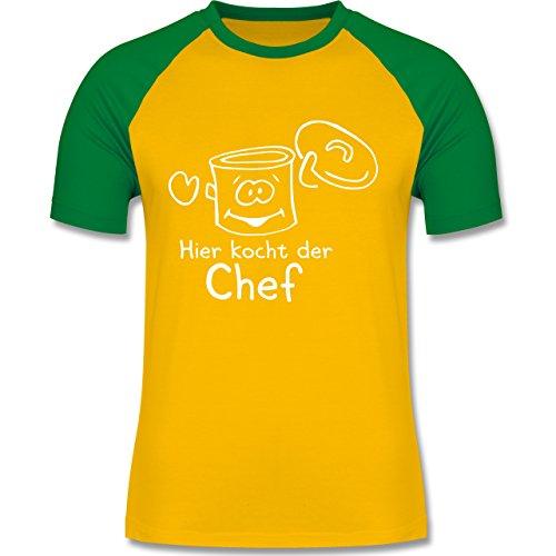 Küche - Hier kocht der Chef - zweifarbiges Baseballshirt für Männer Gelb/Grün