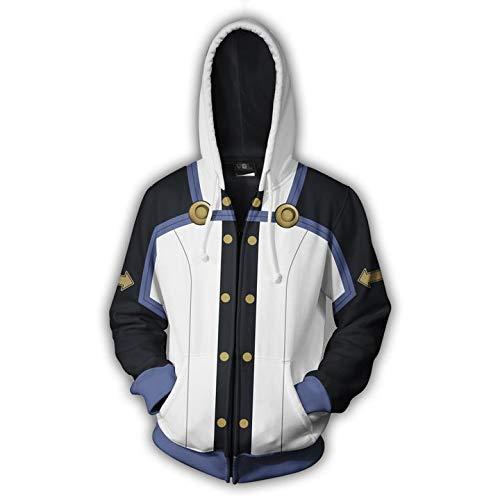 Neuheit Hoody Hooded Top Hoodie für Herren und Damen Hooded Sweatshirts Erwachsene Unsiex Langarm mit Reißverschluss Zwei Taschen,White,S