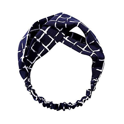 Stirnbänder Frauen Turban Headwrap verdreht geknotete elastische Haarband Mode Streifen Gitter Blumendruck(Mehrfarbig H,free)