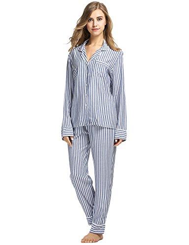 Ekouaer Damen Gestreift Schlafanzug Kurzarm Zweiteiliger Streifen Pyjama Hausanzug Knöpfen Blau913