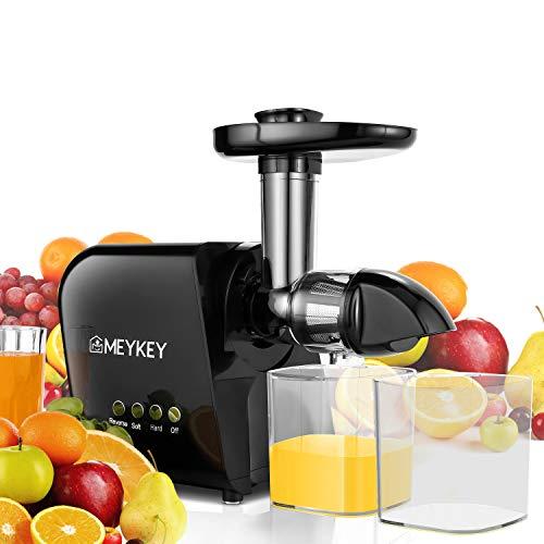 Entsafter Kauen Slow Juicer, Meykey BPA Frei Entsafter Gemüse und Obst, langsam Drehender Entsafter und Saftauffangbehälter und Reinigungsbürste, Ruhiger Motor & Umkehrfunktion [150 Watt]