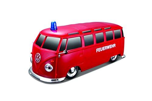 """Maisto Tech R/C VW Bus \""""Feuerwehr\"""": Ferngesteuertes Auto mit Licht & Sound, Maßstab 1:24, Pistolengriff-Fernsteuerung, 5.8 km/h, 20 cm, rot (582091F)"""