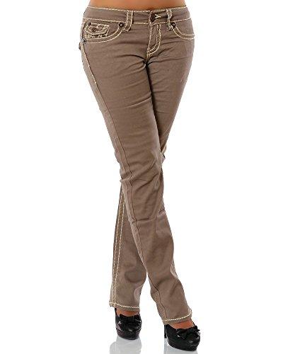 Damen Jeans Straight Leg (Gerades Bein Dicke Nähte Naht weitere Farben) No 12923 42 Khaki