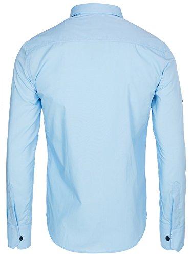 OZONEE Herren Klassisch Hemd Freizeithemd Langarm Shirt Casual Slim Fit RAW LUCCI 715 Blau