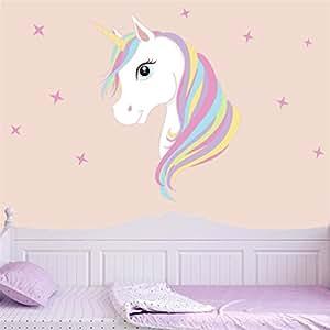 Adesivi murali stampa unicorno, rimozione bling stars art stickers fai da te bambini ragazze camera da letto decorazione murale (A)