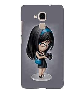 Takkloo cute girl girl wearing specs,black hair, girl wearing blur ribbon, blue bag, black camera) Printed Designer Back Case Cover for Huawei Honor 5c :: Huawei Honor 7 Lite :: Huawei Honor 5c GT3