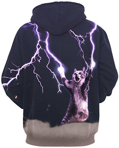 TDOLAH Femme Sweat-shirts à Capuche Fantaisie Pull Hoodie avec Impression Pluseurs Styles 4-Foudre Chat