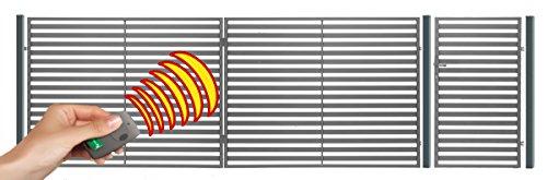 SO24 Einfahrtstor Hoftor Doppelflügeltor Gartentor Berlin 350 x 150 cm, mit Pforte 94 cm, elektr. Antrieb und Riegelset, Komplett-Set inklusive 2 Torflügeln, 1 Pforte, 3 Stahlpfosten, Beschlägen, 1 elektr. Antrieb mit 1 Fernbedienung und 1 Riegelset. Gesamtbreite ist ca.487 cm