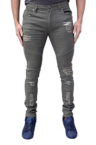Herren Designer Soul Star Skinny Stretch Fit Biker-jeans Schmal Zerissen & Reparatur Distressed Zerrissen Look Mode Denim - Khaki, 28W x 32L