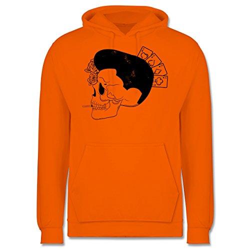 Rockabilly - Rockabilly Schädel - Männer Premium Kapuzenpullover / Hoodie Orange