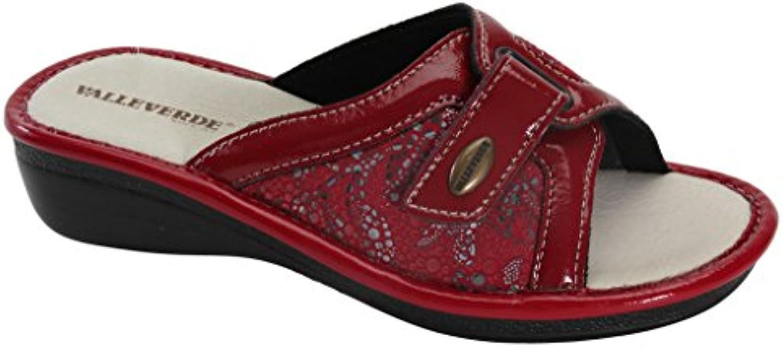 Valleverde Zapatillas de estar Por casa de Tela Para Mujer Rojo Rojo