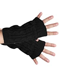 sourcingmap® Unisex Stretchy Thumb Hole Detail Casual Warmer Knit Gloves