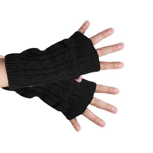 sourcingmap Unisex Daumenlöchern fingerlose stricken geflochten Handschuhe (Stricken Handgelenk-handschuh Palm,)