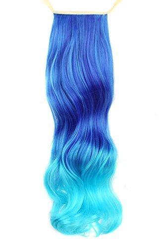 MapofBeauty 50cm/20 Pouce Longue Droit Queue de cheval Femmes Queue de cheval (Bleu/Ciel Bleu)