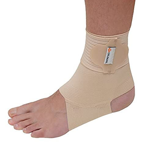 Medically Approved Wraparound Elastic Ankle Support - BEIGE - Ideal for sports, dancing, gymnastics etc. (Small: Ankle Circ: 17-20cm)