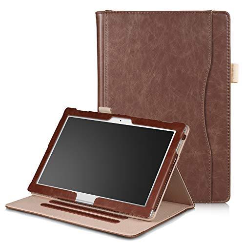 Xuanbeier Hülle Multifunktional Kompatibel mit Lenovo Tab4 10/Tab 4 10 Plus/Tab E10 TB-X104 10.1Zoll Tablette mit Multi-Winkel und Handhalter, Braun