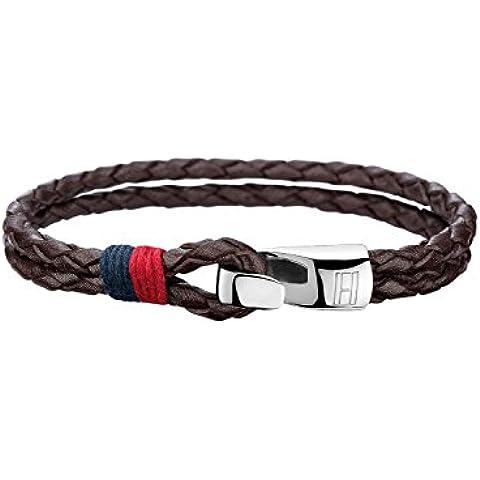 Tommy Hilfiger 270067 - pulsera para hombre, estilo casual, cuero y acero inoxidable, 20,3 cm