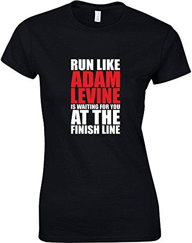 run-like-adam-levine-is-waiting-gedruckt-frauen-t-shirt-schwarz-weiss-rote-m-82-86cm