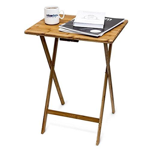 Relaxdays Beistelltisch zum Klappen H x B x T: ca. 68 x 48 x 38,5 cm Falttisch aus Bambus für drinnen und draußen ideal auch als Gartentisch und Telefontisch platzsparender Klapptisch aus Holz, natur