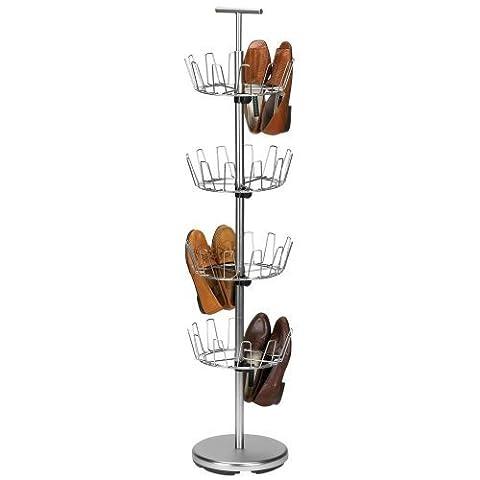 Household Essentials Four-Tier Revolving Shoe Tree, Satin Nickel Finish by Household Essentials