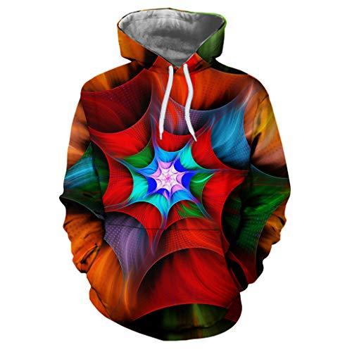 GreatestPAK Damen Paar Kapuze Pullover Herbst und Winter 3D Druck Langen Ärmeln Sweatshirt Loves Ärmel Hoodies, rot,XL