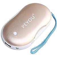 Handwärmer USB, PEMOTech 5200mAh Energien-Bank: Große Kapazität und doppelseitige Heizung mit LED-Taschenlampe für IOS/ alle Android-Smartphone externe Backup-Ladegerät(Gold)