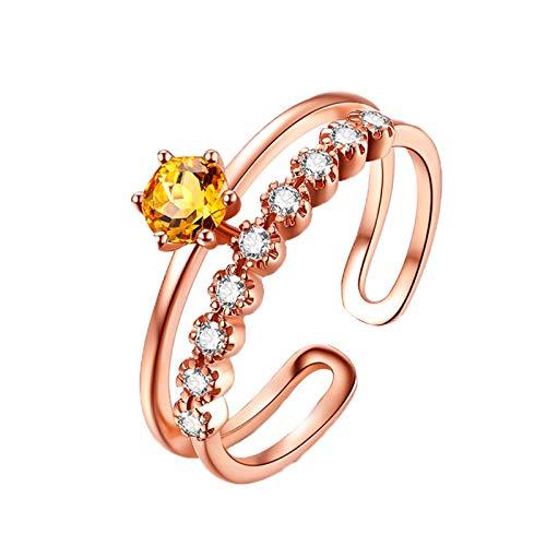 KnSam Verlobungsring Weissgold Diamant Trauringe Gold Krone Offen Natürlich 0.4 Carat Saphir 0.09 Carat Diamant Größe 54 (17.2) Gelb (Gelber Princess-cut Diamant-ring)