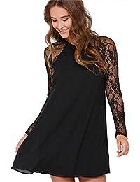 f850bc31f52d CZ130   Vestiti Donna Eleganti Ragazza Invernali di Moda in Pizzo Giuntura  Chiffon delle Abiti Cerimonia