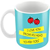 Paper Plane Design I Love You From My Head Tomatoes Mug Ceramic Coffee Mug, Coffee Mugs For Boyfriend Printed Quotes | Birthday Gift | Coffee Mug With Quotes | Coffee Mugs For Gift | Gift For Girlfriend Boyfriend | Gift For Boys Girls