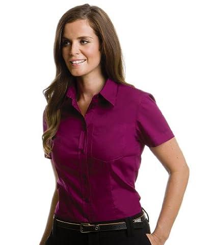 Kustom Kit Mesdames Corporate Oxford Chemise à manches courtes avec poche - rouge - 46