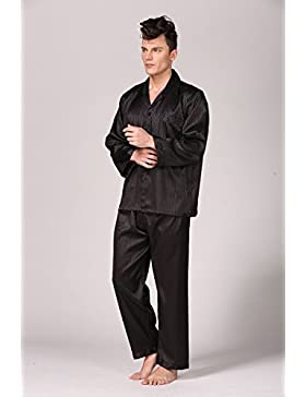 Hombres Classic Stripe Sweatshirt Style Pijamas Hombres Long Sleeve Sleepwear Set,Black,XL