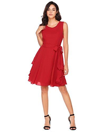 Zeela Damen Elegantes Chiffon Kleid Asymmetrisches Festliches Brautjungfernkleid Abendkleid Ballkleid mit abnehmbarem Gürtel Rot