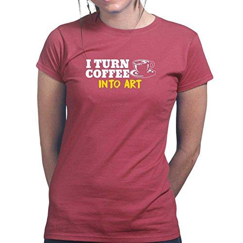 Womens Coffee To Art Canvas Drawing Wall Ladies T Shirt (Tee, Top) Maroon