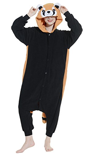 Fandecie pigiama/costume onesie da adulti, tema: procione lavatore, unisex, ideale per halloween/cosplay/dormire/, per altezze da 160 a 175 cm - medium