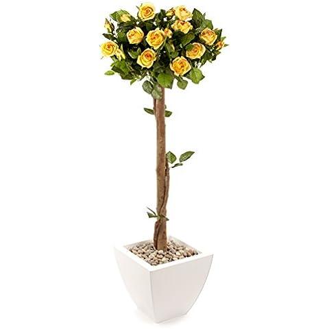 Closer2Nature FT035YW - Árbol con rosas artificiales, 121 cm, color amarillo